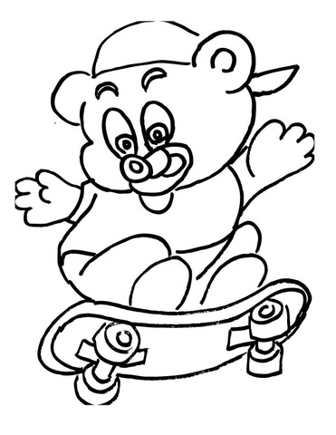 Bear Cub Skateborder  coloring page