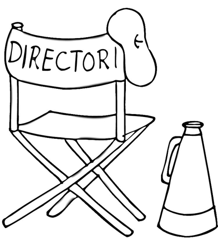 Beret, folding chair and megaphone of Film Director coloring page