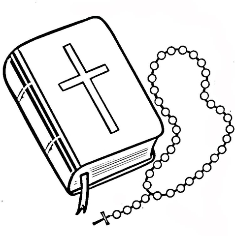 Bible and Rosary coloring page