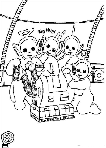 Teletubbies with their Vacuum Cleaner coloring page