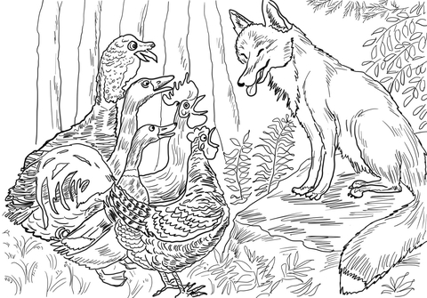 Birds and Fox from Henny Penny coloring page