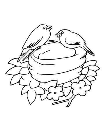 Bluebirds Nesting coloring page