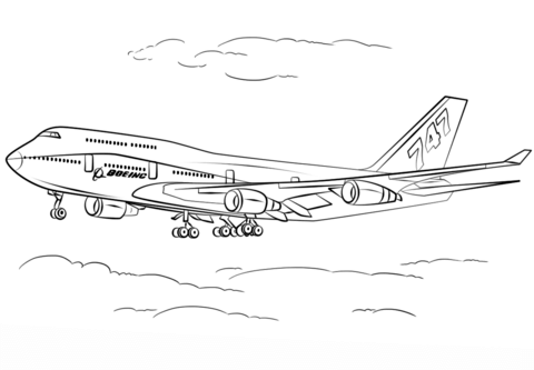 Boeing 747-400 coloring page
