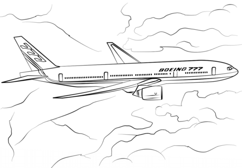 Boeing 777-200 coloring page