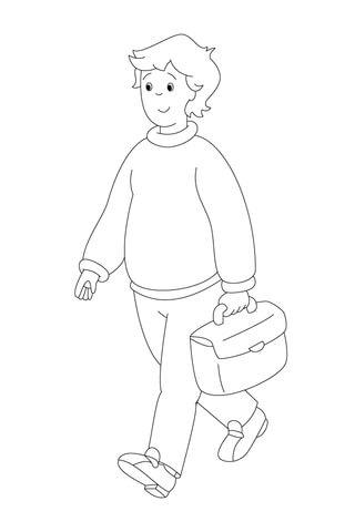 Boris Is Walking With His Briefcase coloring page