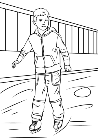 Boy Ice Skater coloring page