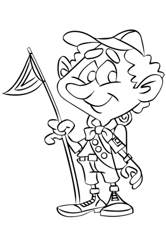 Boy Scout on a Camping Trip coloring page