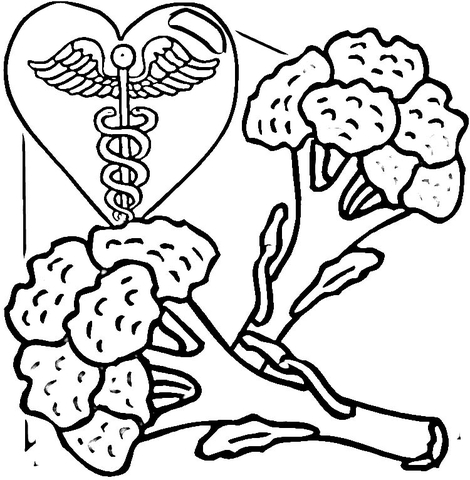 Broccoli is Healthy Food  coloring page