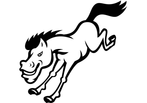 Bronco Horse Jumping Coloring Page