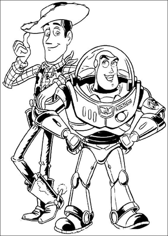 Buzz Lightyear And Woody Sheriff coloring page - Free Printable ...