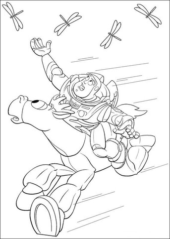 buzz lightyear shakes hand with sheriff woody coloring page buzz tries to catch the dragonfly coloring page