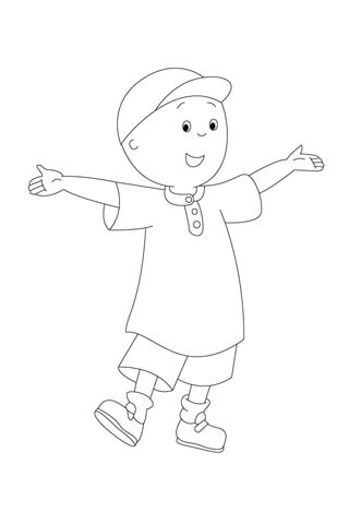 Caillou Is Waiting To Be Painted! coloring page