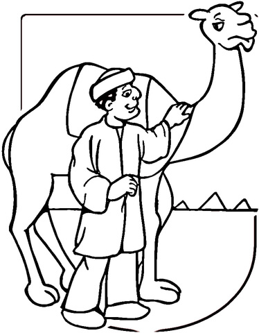 Camel And Egyptian Man  coloring page
