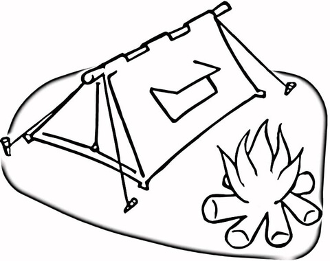 Tent and Campfire  coloring page