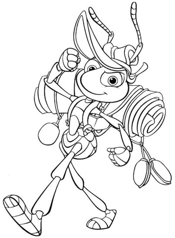 Flik is camping coloring page