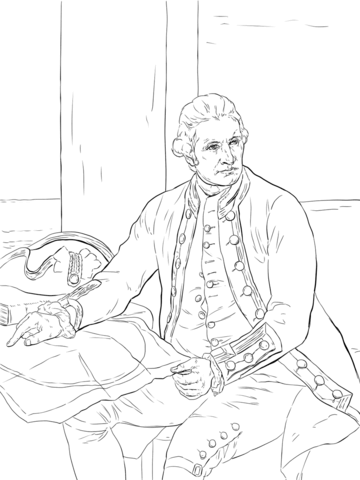 captain james cook coloring page