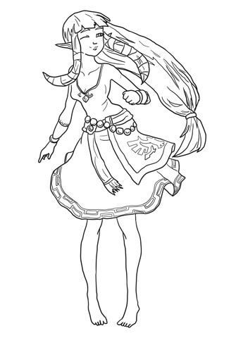 Carefree Zelda coloring page