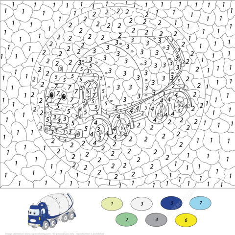 Concrete Mixer Color by Number coloring page