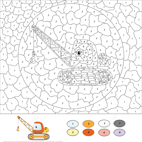 Crane Color by Number Coloring page