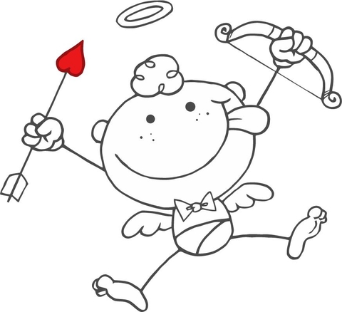 Cartoon Cupid with Bow and Arrow coloring page