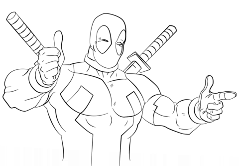 Cartoon Deadpool coloring page