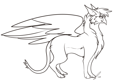 Cartoon Griffin coloring page