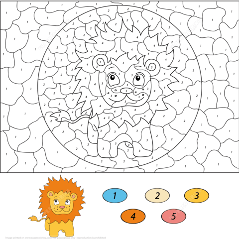Cartoon Lion Color by Number coloring page