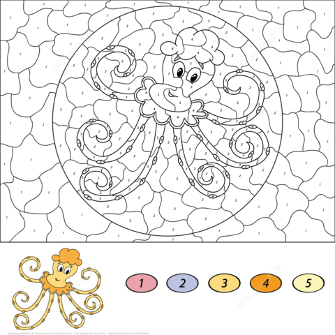 Cartoon Octopus Color by Number coloring page
