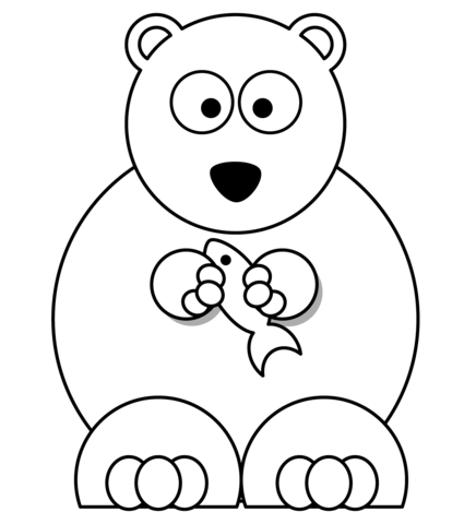 Cartoon Polar Bear with Fish coloring page