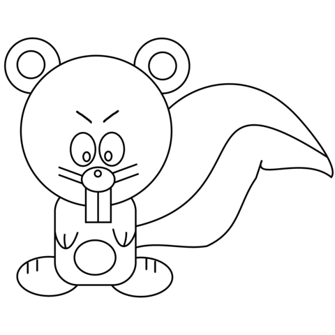 Cartoon Squirrel coloring page
