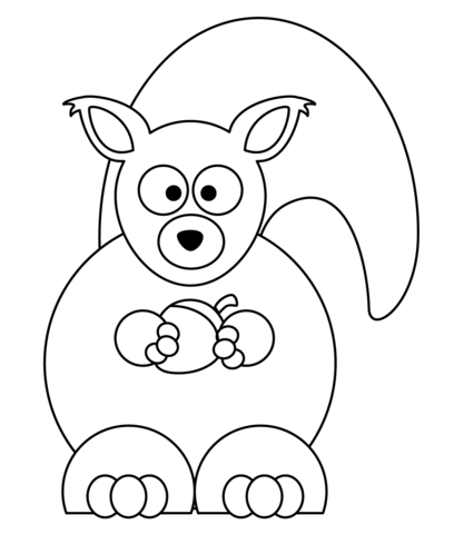 Cartoon Squirrel with Acorn coloring page