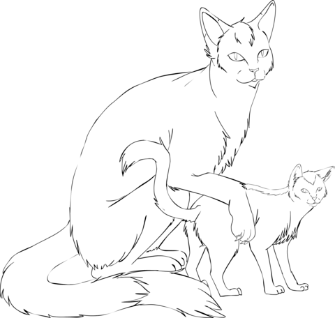 Cat Mother with Kitten coloring page