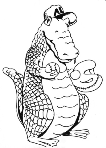 Cartoon Alligator Baseballer coloring page