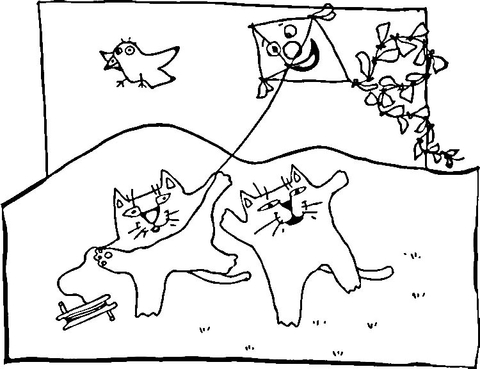 Cats and Kites coloring page