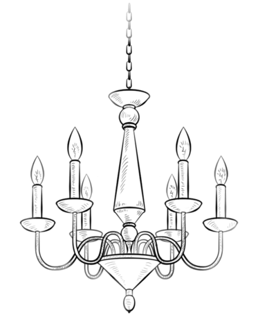 Chandelier coloring page