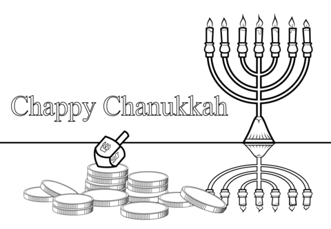 Chappy Chanukah coloring page