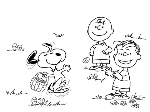 Snoopy with the Peanuts Gang coloring page - Free Printable Coloring ...