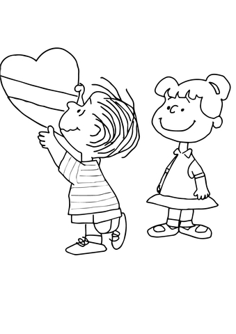 Charlie Brown Valentine coloring page - Free Printable Coloring Pages