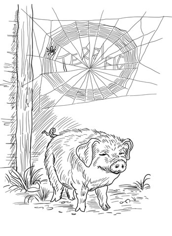 Charlotte and Wilbur coloring page