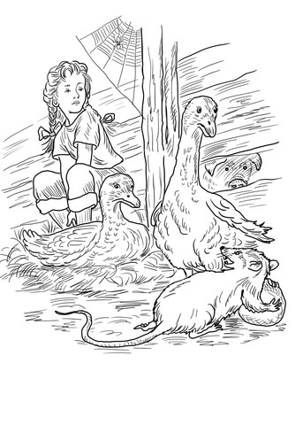 Charlotte, Fern, Gooses, Templeton and Wilbur coloring page