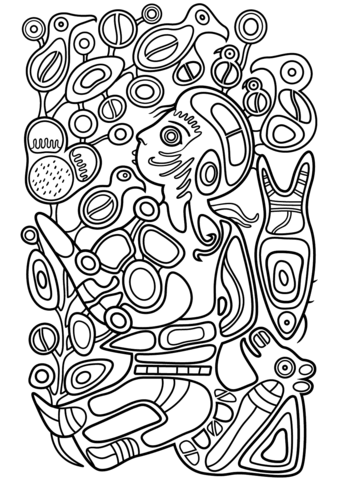 Children in the Tree of Knowledge by Norval Morrisseau coloring page