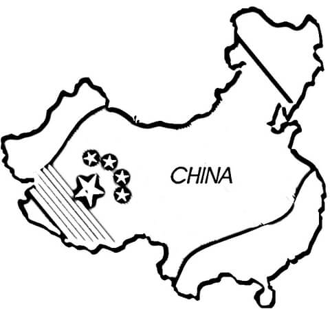 Map of China coloring page