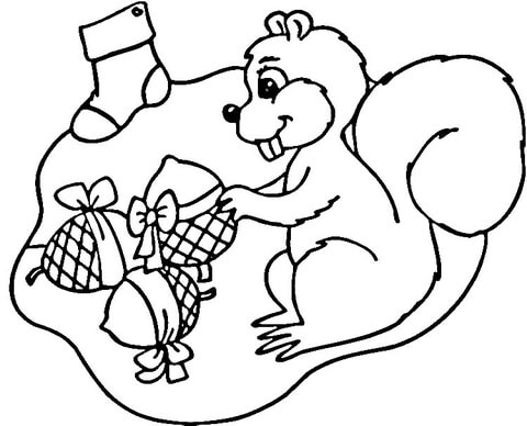 Christmas for Squirrel  coloring page