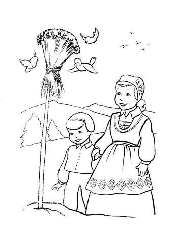 Christmas In Norway  coloring page