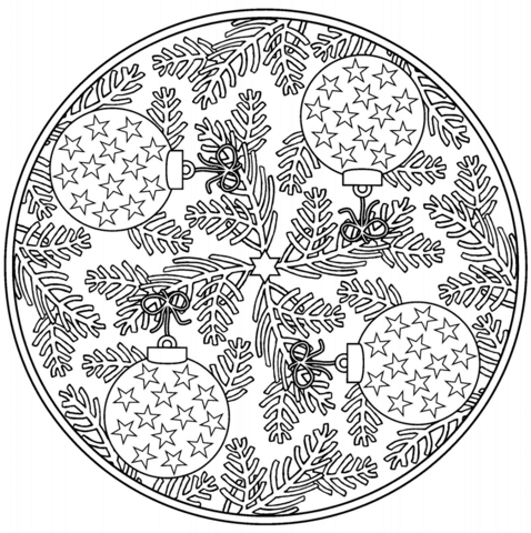 Christmas Mandala with Baubles coloring page