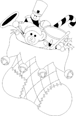 Christmas Stocking with lots of gifts coloring page