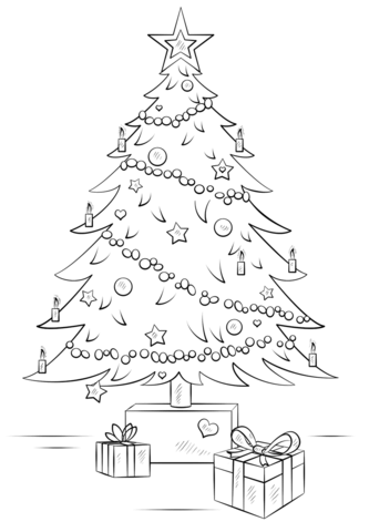 Christmas Tree with Gift Boxes coloring page