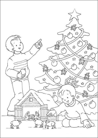 Christmas Tree In The House  coloring page