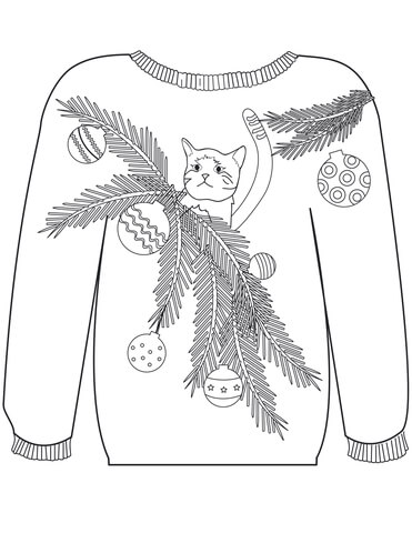 Christmas Ugly Sweater with a Cat in Branches Motif coloring page