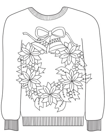 Christmas Ugly Sweater with a Christmas Wreath Motif coloring page